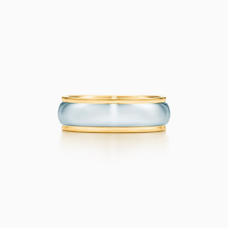 new lucida band ring with platinum in 18k gold 6 mm wide - Wedding Rings And Bands