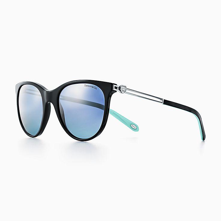 new return to tiffany love round sunglasses in black acetate polarized