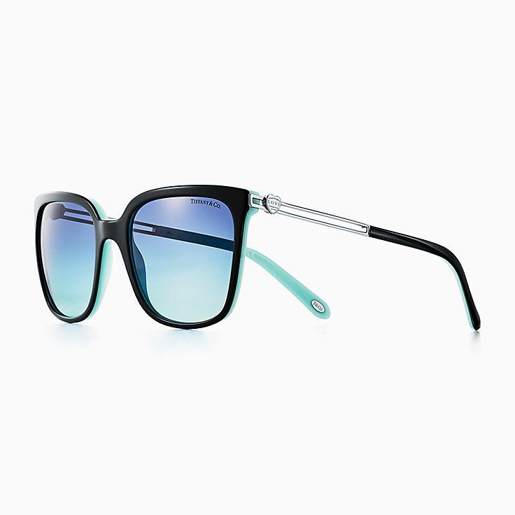 new return to tiffany love square sunglasses in black and tiffany blue acetate