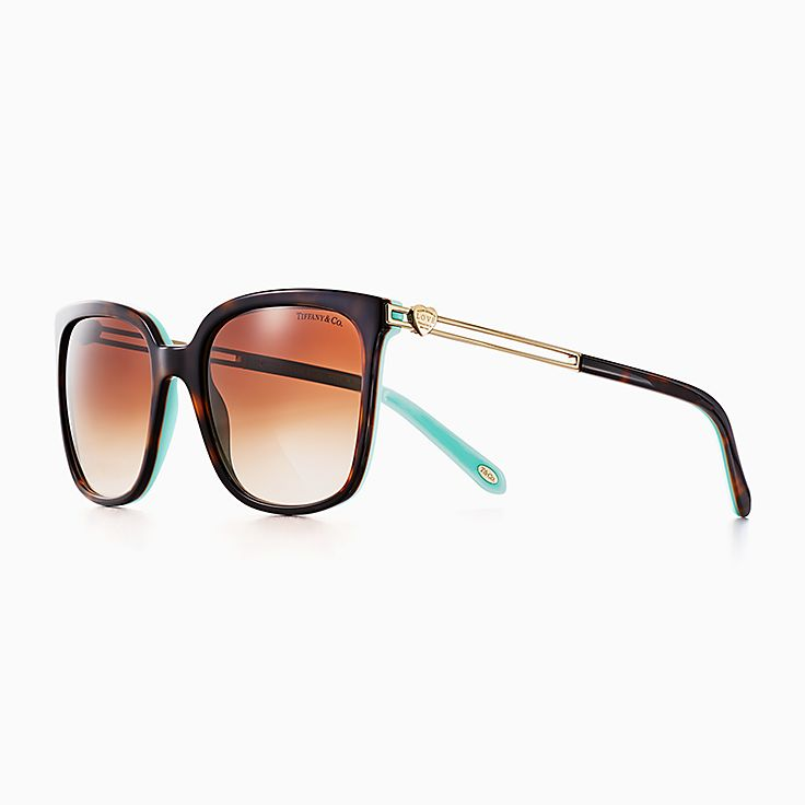 new return to tiffany love square sunglasses in tortoise and tiffany blue acetate