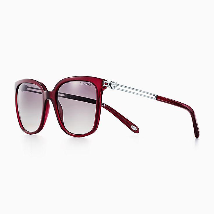 new return to tiffany love square sunglasses in opal dark red acetate