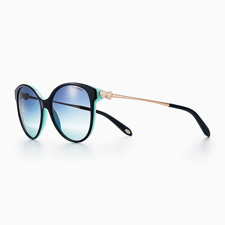new return to tiffany round sunglasses in black and tiffany blue acetate
