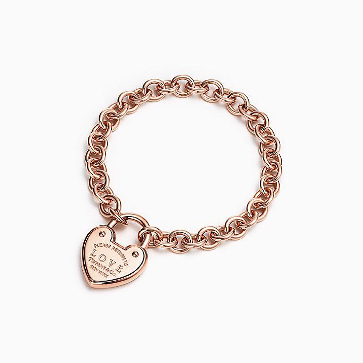 Nouveauté Bracelet à breloque cadenas « Love » en or rose 18 carats, moyen.