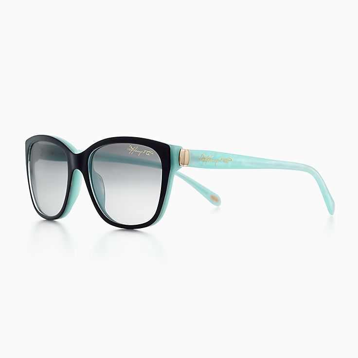eyeglasses shades aea0  New Tiffany 1837 square sunglasses in black and Tiffany Blue acetate
