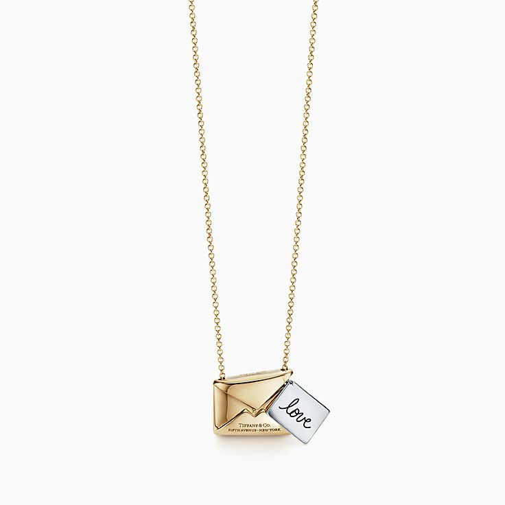 new tiffany charms sweet nothings love letter pendant in 18k gold and silver