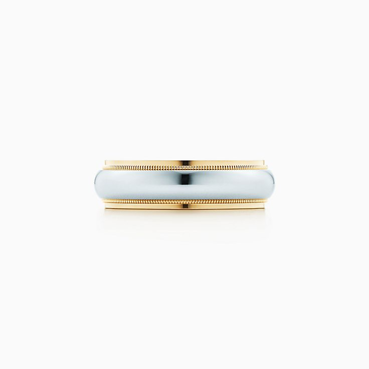 new tiffany classic milgrain wedding band ring in platinum and 18k gold 6 mm wide - Tiffany Wedding Ring
