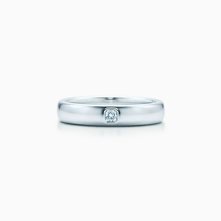 New Tiffany Classic™ wedding band ring in platinum with a diamond, 4 mm  wide.