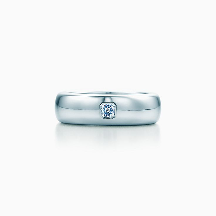 New Tiffany Classic™ wedding band ring in platinum with a diamond, 6 mm  wide.