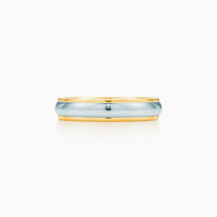 new tiffany classic wedding band ring in 18k gold and platinum 4 mm wide - Wedding Band Ring