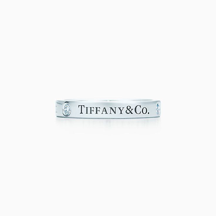 new tiffany co band ring with diamonds in platinum 3mm wide