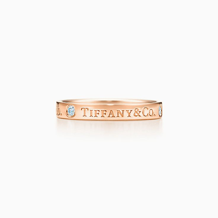 new tiffany co band ring in 18k rose gold with diamonds 3 mm