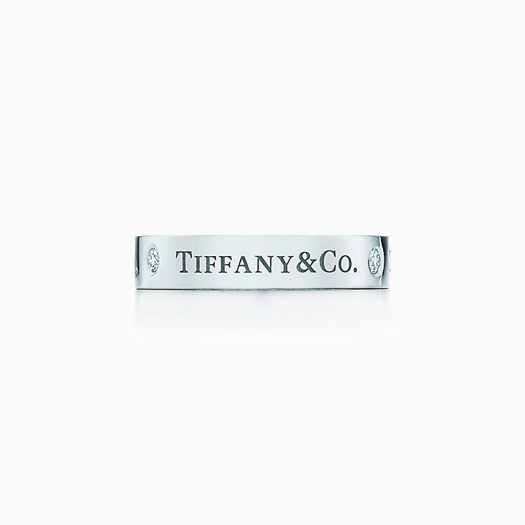 new tiffany co band ring in platinum with diamonds