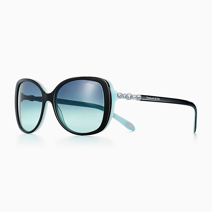 new tiffany cobblestone rectangular sunglasses in black and tiffany blue acetate