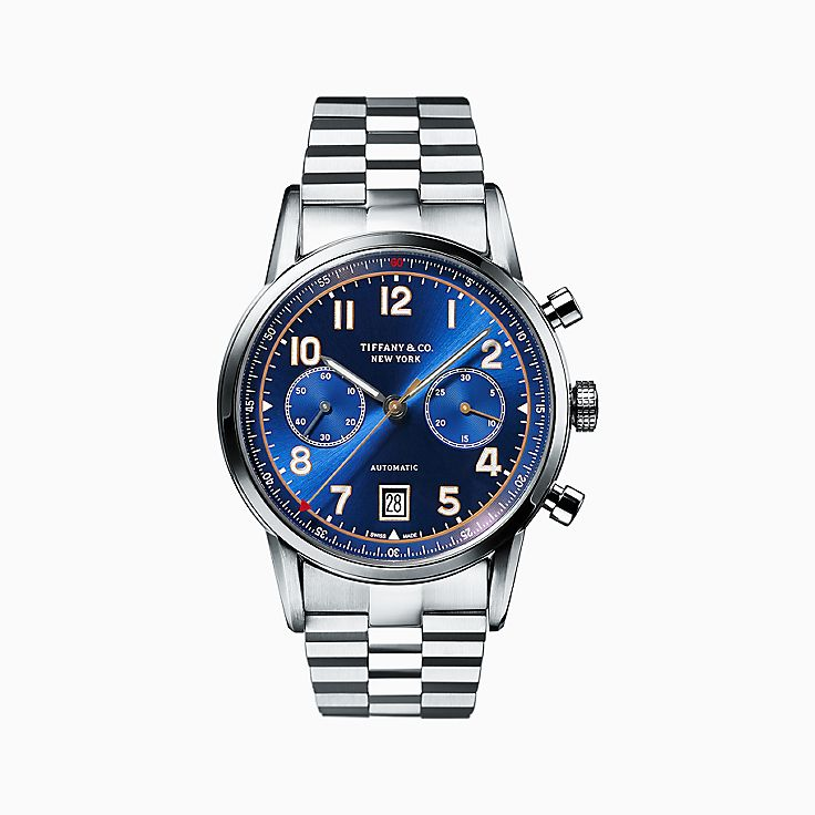 "shop mens luxury watches tiffany co new tiffany ct60â""¢ chronograph 42 mm men s watch in stainless steel"
