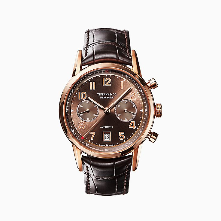 shop men s swiss luxury watches tiffany co new tiffany ct60® chronograph 42 mm men s watch in 18k rose gold