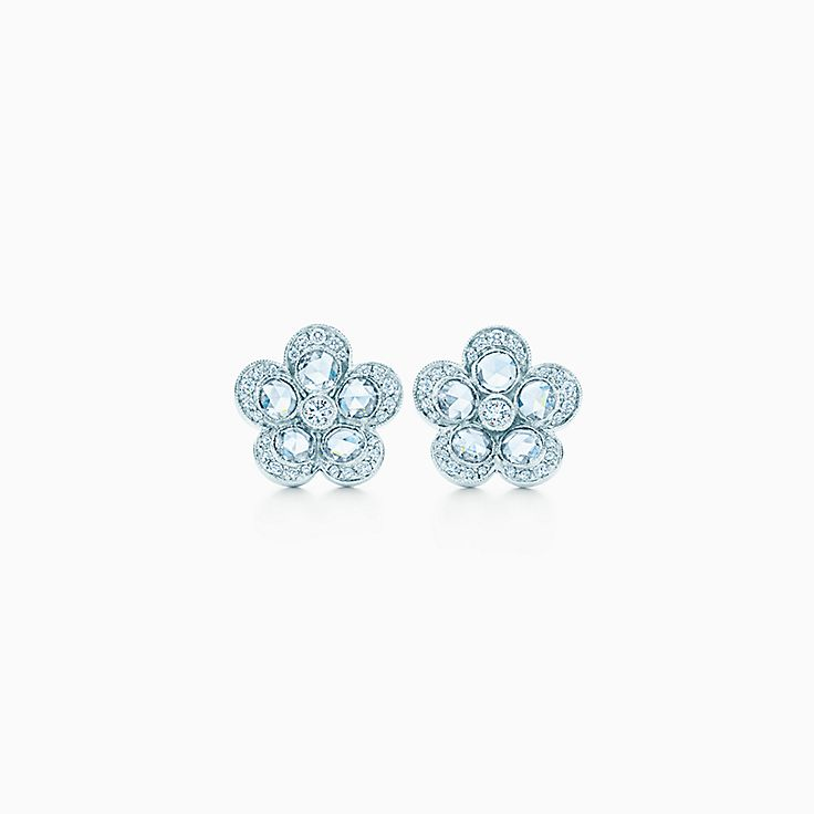 New Tiffany Enchant Flower Earrings In Platinum With Diamonds Small