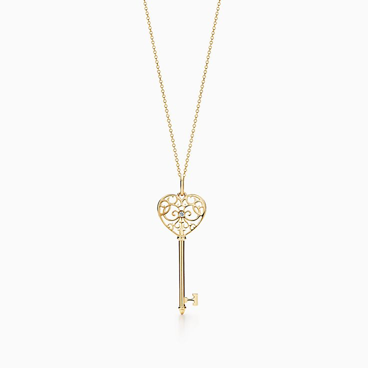 Gold tiffany keys necklace collection tiffany co new mozeypictures Choice Image