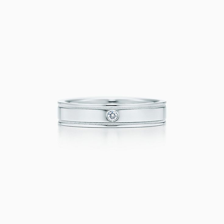 3533ca452 ... new tiffany flat double milgrain wedding band ring in platinum with a  diamond. ...