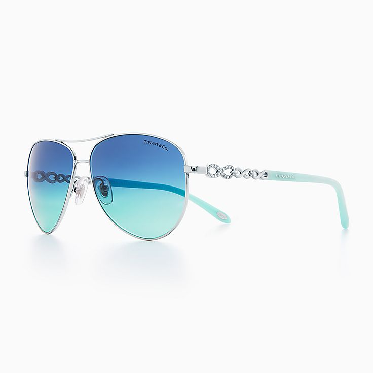 silver aviator glasses tlw5  New Tiffany Infinity aviator sunglasses in silver-colored metal and acetate