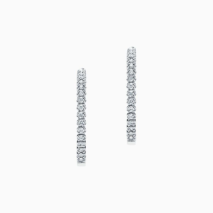 6091fbef8 ... new tiffany metro hinged hoop earrings in 18k white gold with diamonds  small. ...