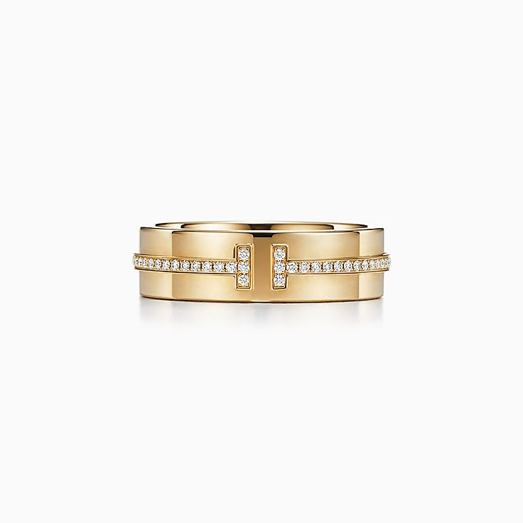 new tiffany t two ring in 18k gold with diamonds