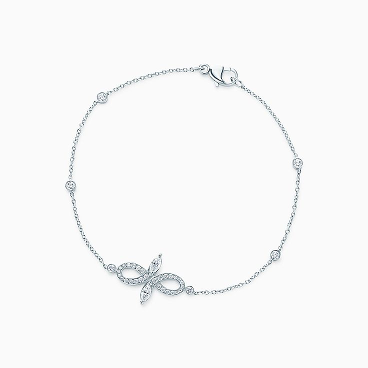 New Tiffany Victoria® bow bracelet in platinum with diamonds, large.