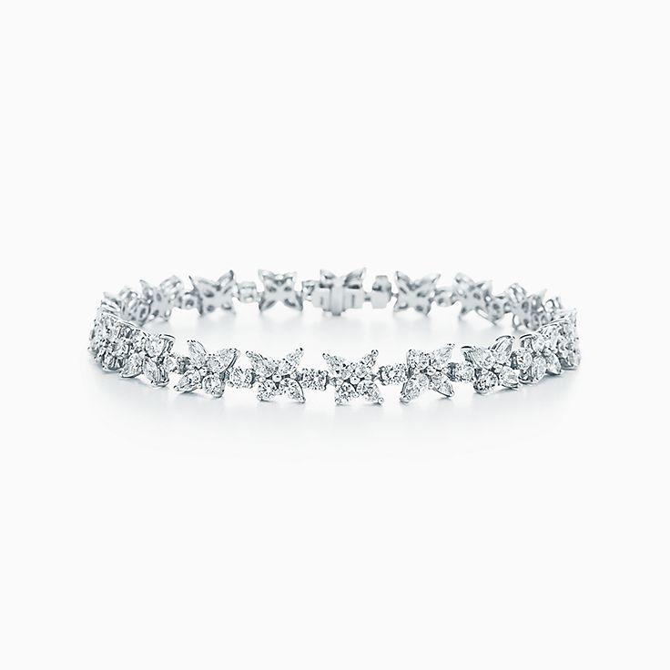 Nouveauté Bracelet corolle de fleur Tiffany Victoria® en platine 925  millièmes. Diamants.