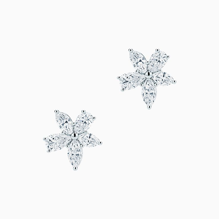 Tiffany Victoria® mixed cluster earrings in platinum with diamonds, large.