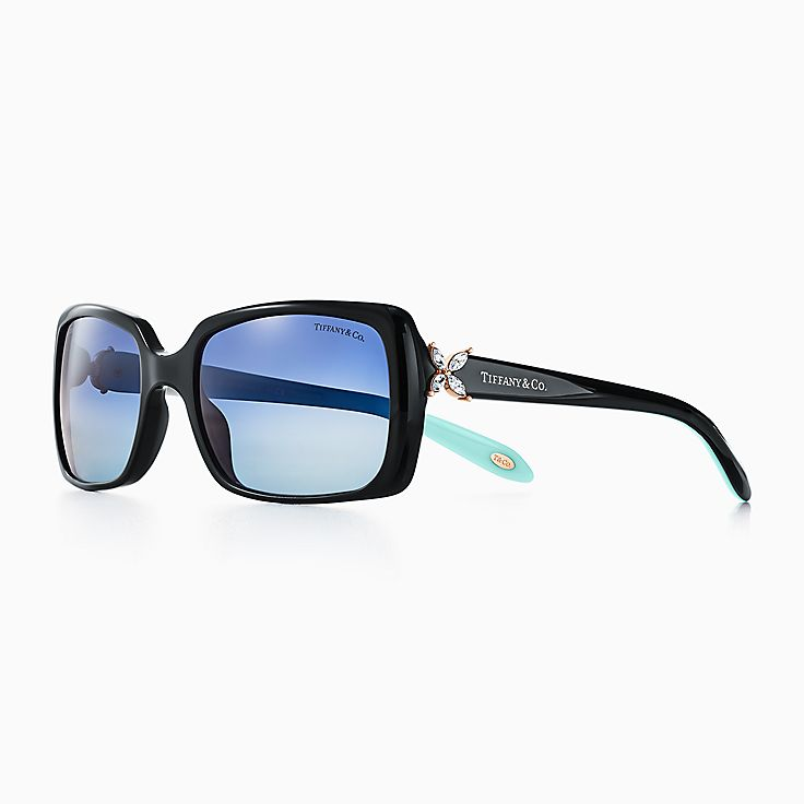 new tiffany victoria rectangular sunglasses in black acetate polarized