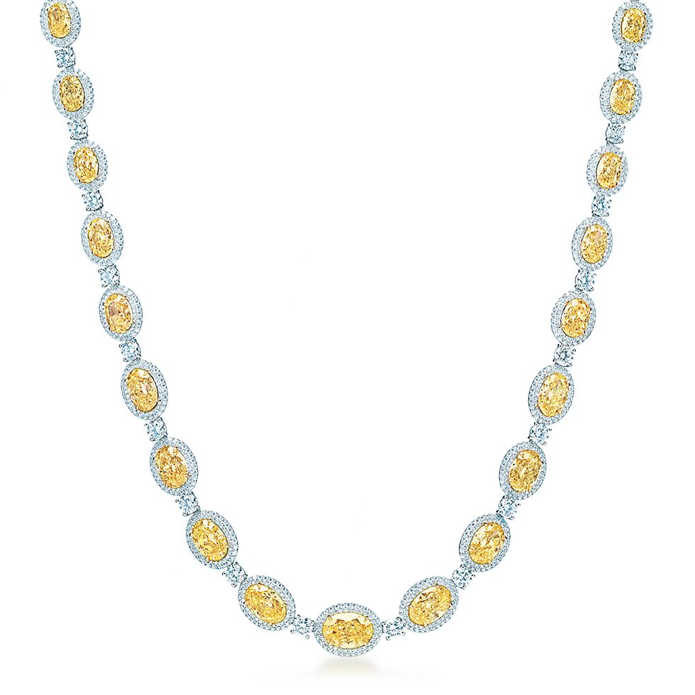 oval fancy intense yellow diamond necklace in platinum