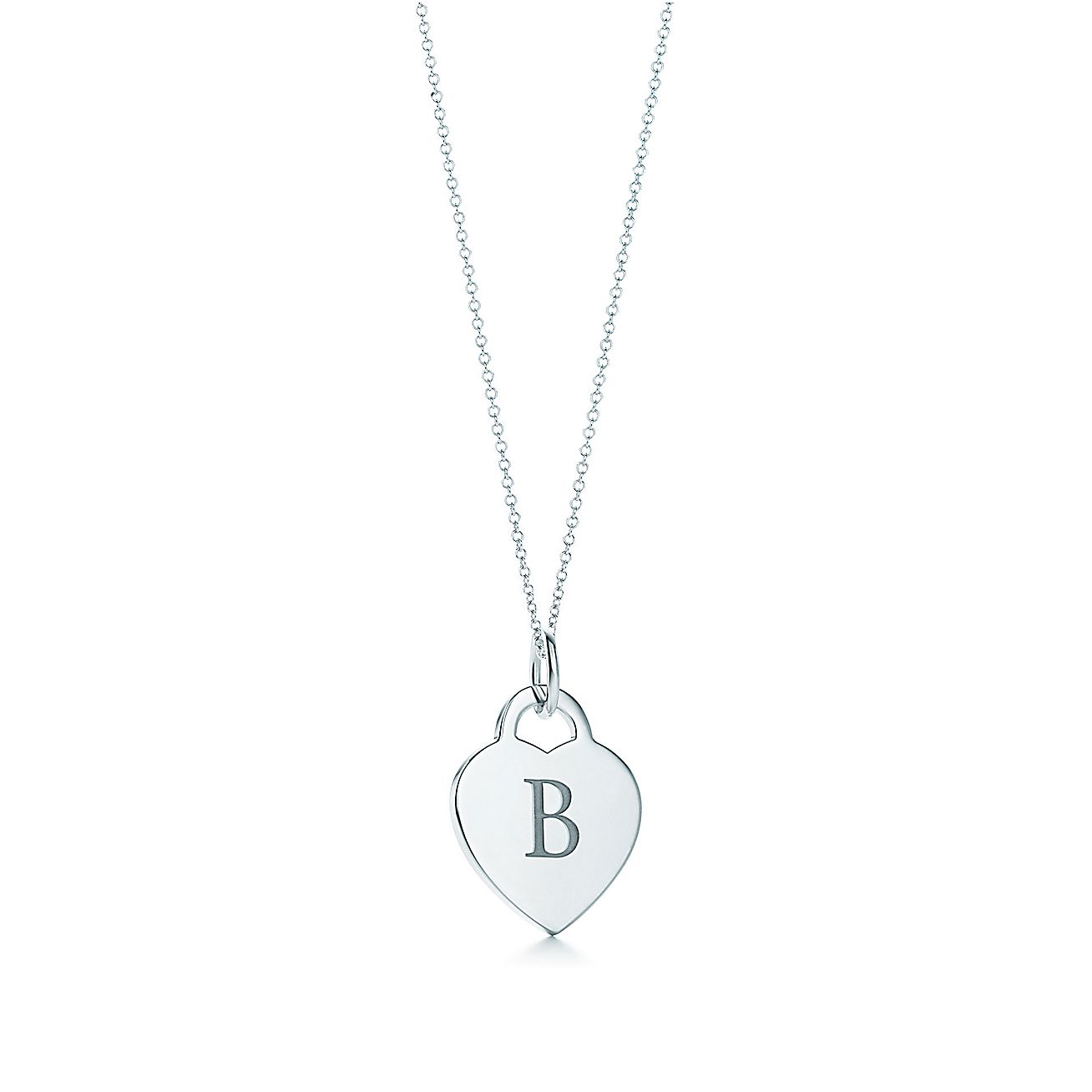 alphabet heart tag letter charm in silver on a chain With alphabet heart tag letter charm and chain tiffany