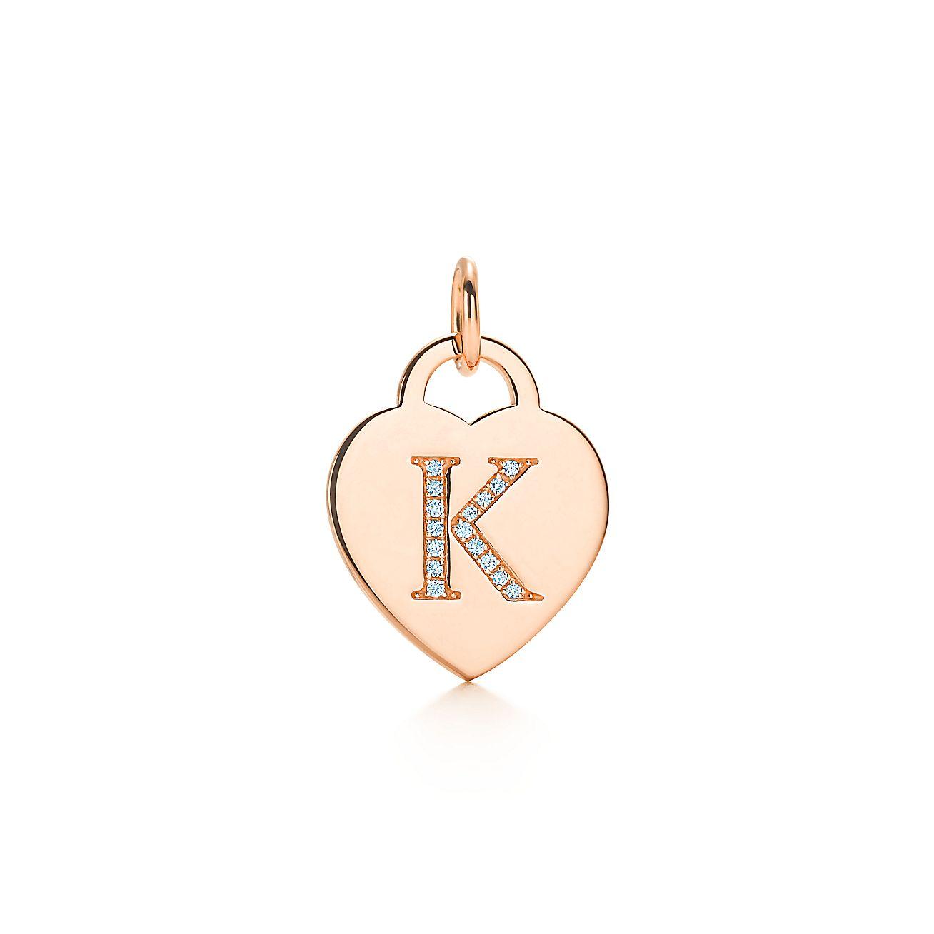"Alphabet Heart Tag<br>Letter ""K"" Charm"