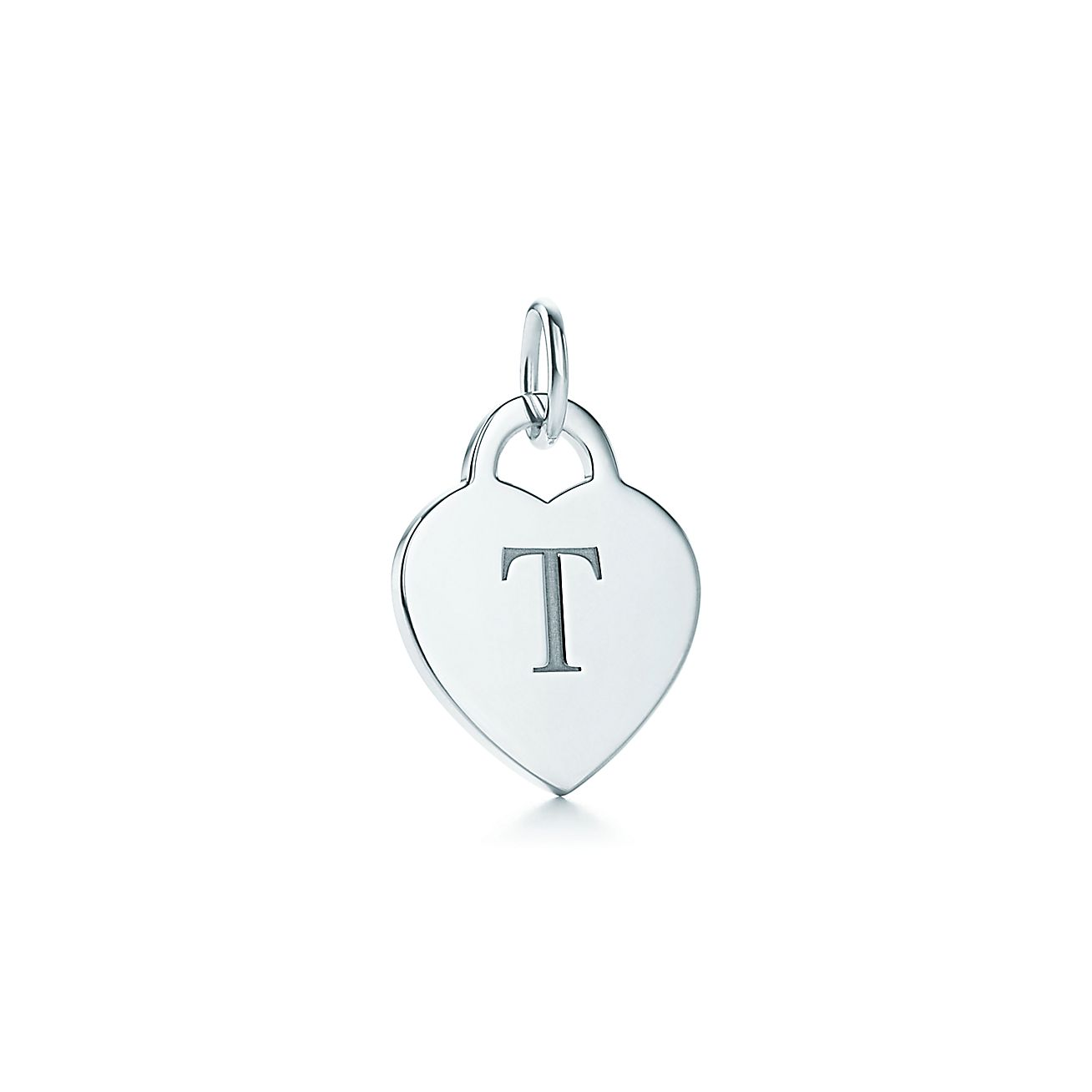 Alphabet heart tag letter quottquot charm in sterling silver for Letter t charm