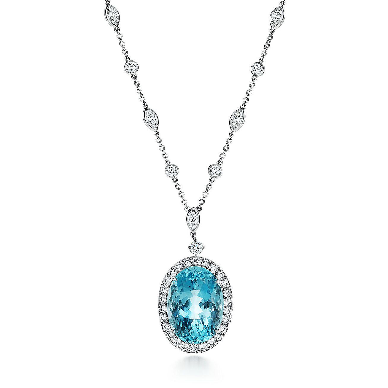 Aquamarine And Diamond Pendant In Platinum