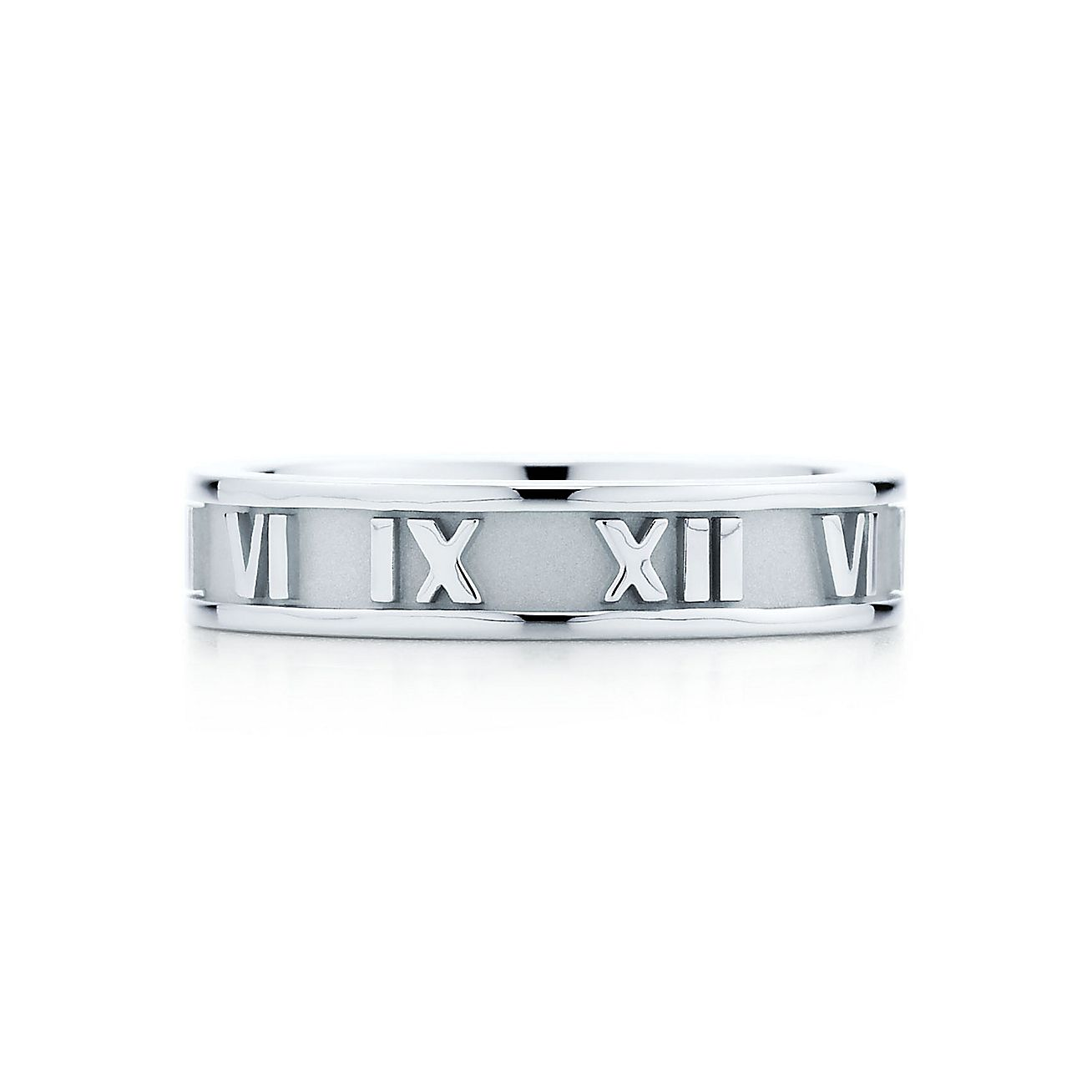 Atlas Band Ring In 18k White Gold 4 Mm Wide Tiffany Co