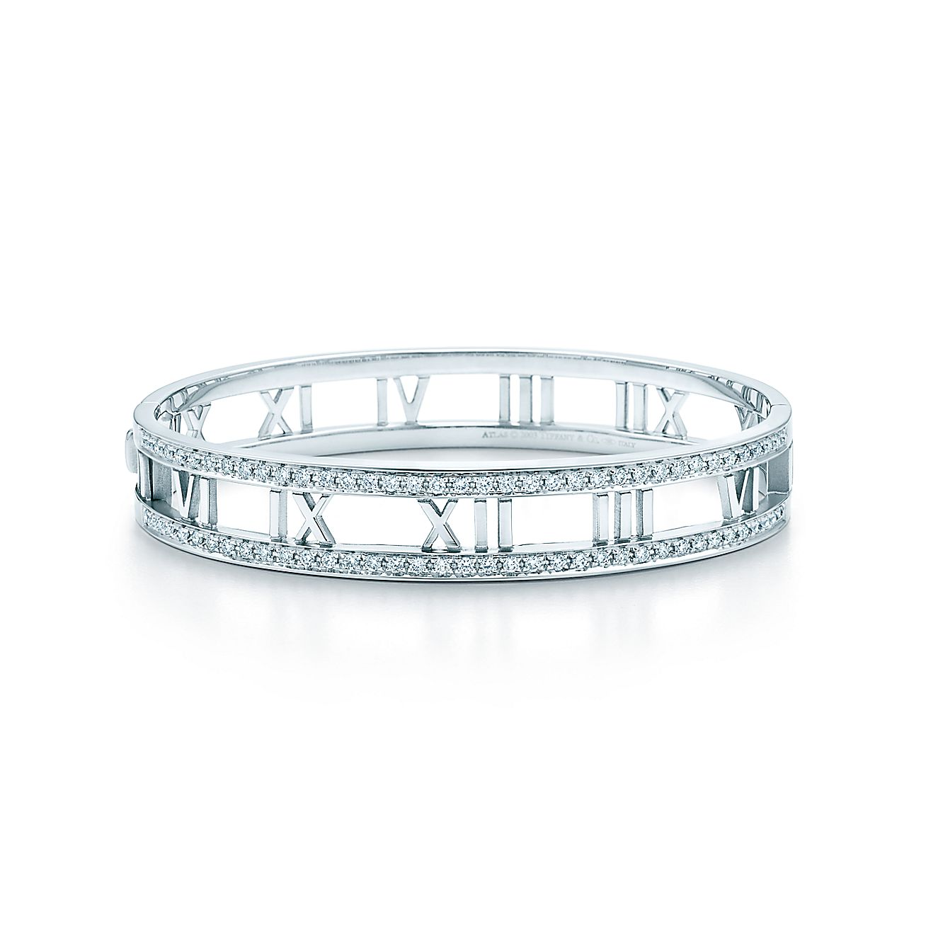 Atlas 174 Open Hinged Bangle In 18k White Gold With Diamonds