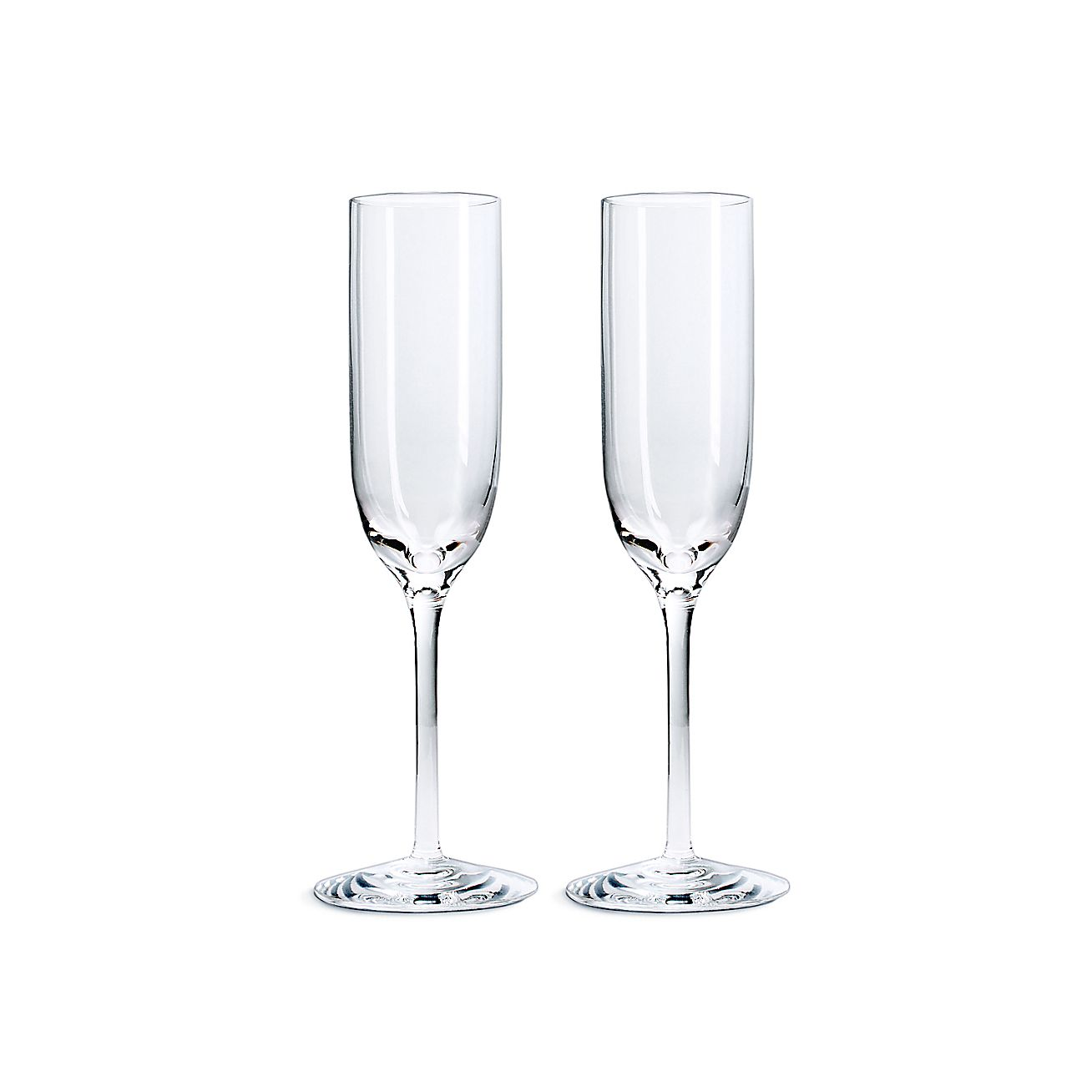 champagne flutes in handblown crystal set of two tiffany co. Black Bedroom Furniture Sets. Home Design Ideas