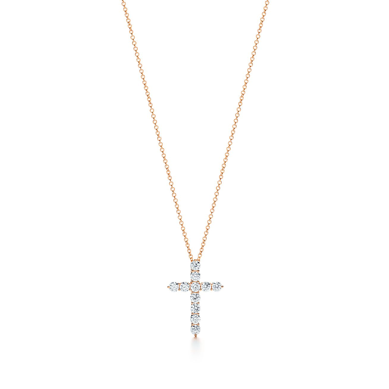 Cross pendant in 18k rose gold with diamonds medium tiffany co cross pendant aloadofball Gallery