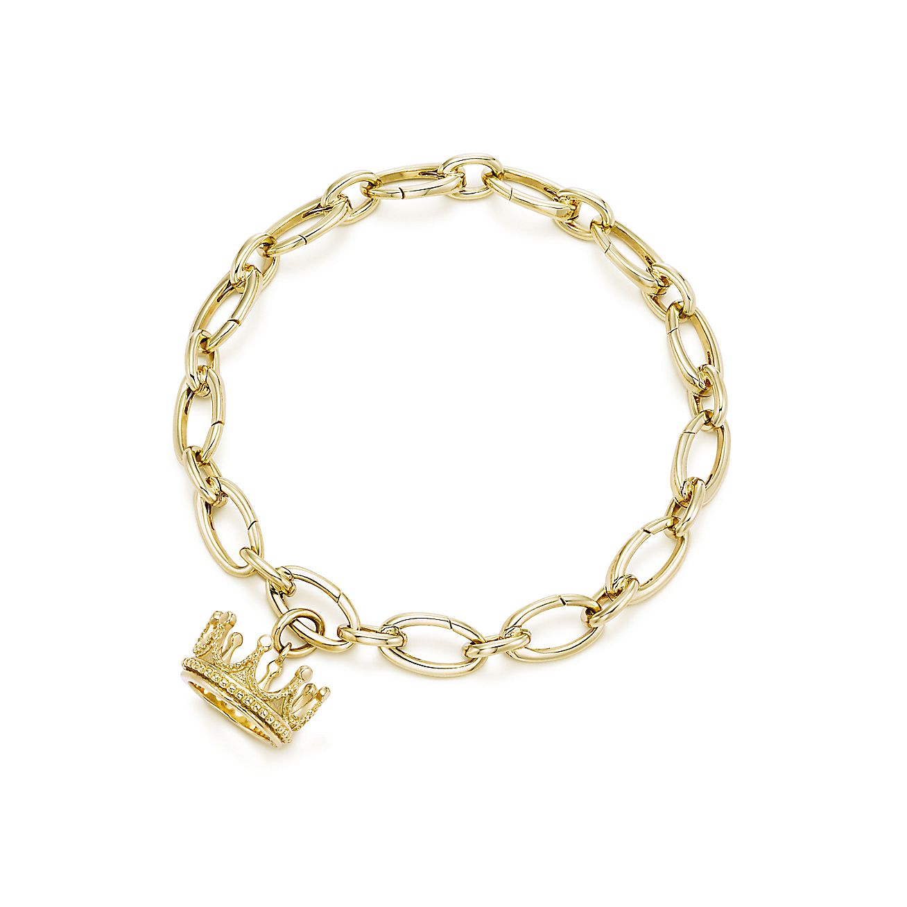 Crown Charm Bracelet: Crown Charm In 18k Gold On A Link Clasp Bracelet