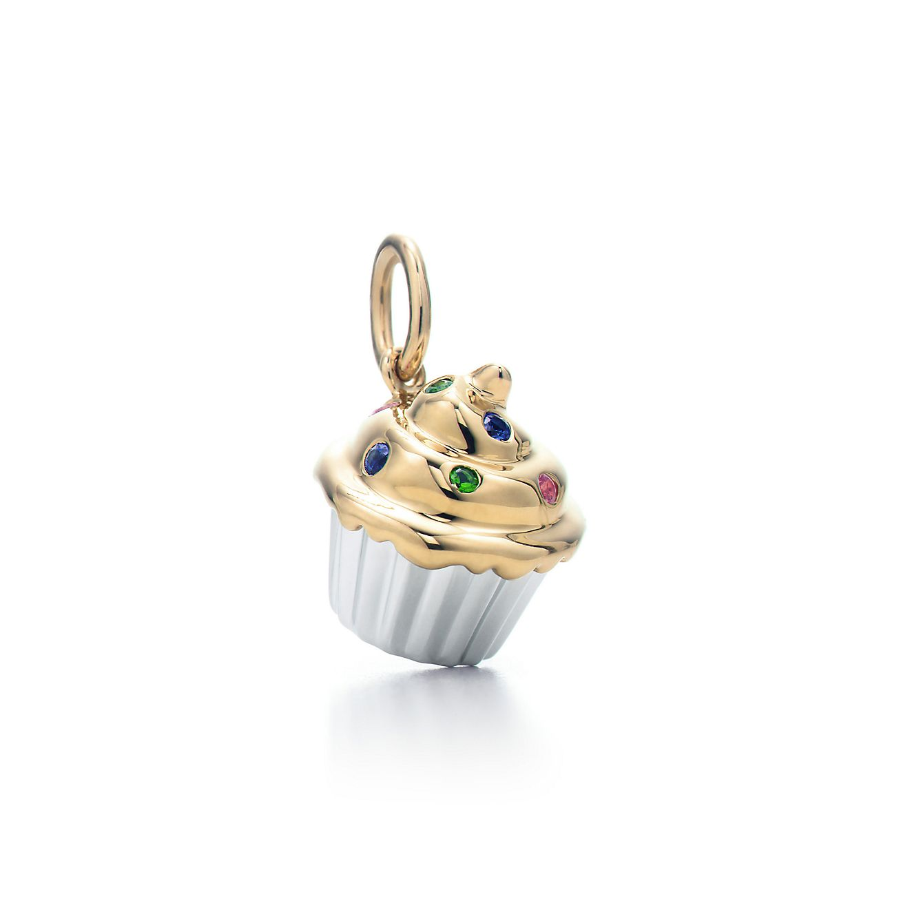 Cupcake charm. Multi-colored gemstones, 18k gold ...