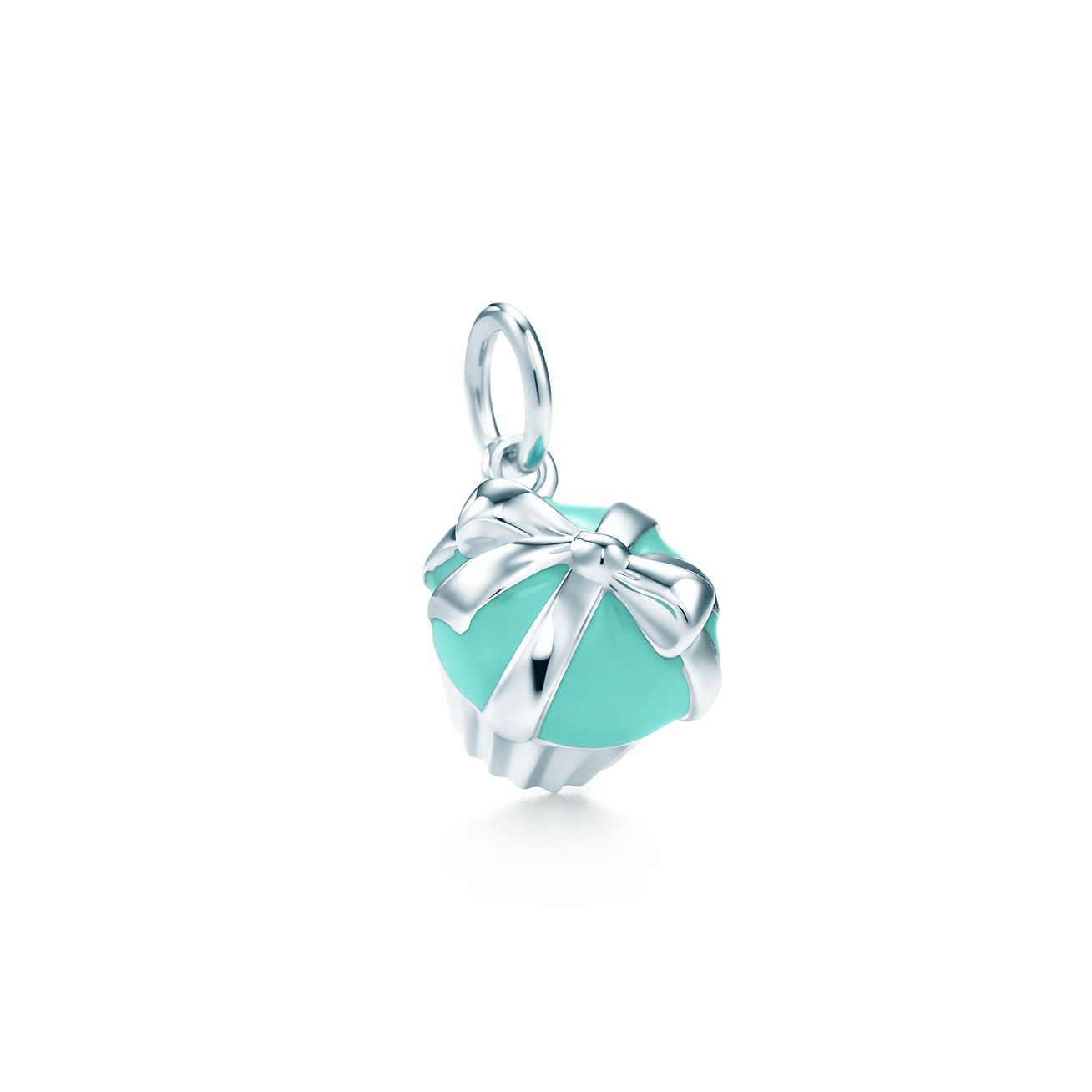 cupcake charm in sterling silver with blue enamel
