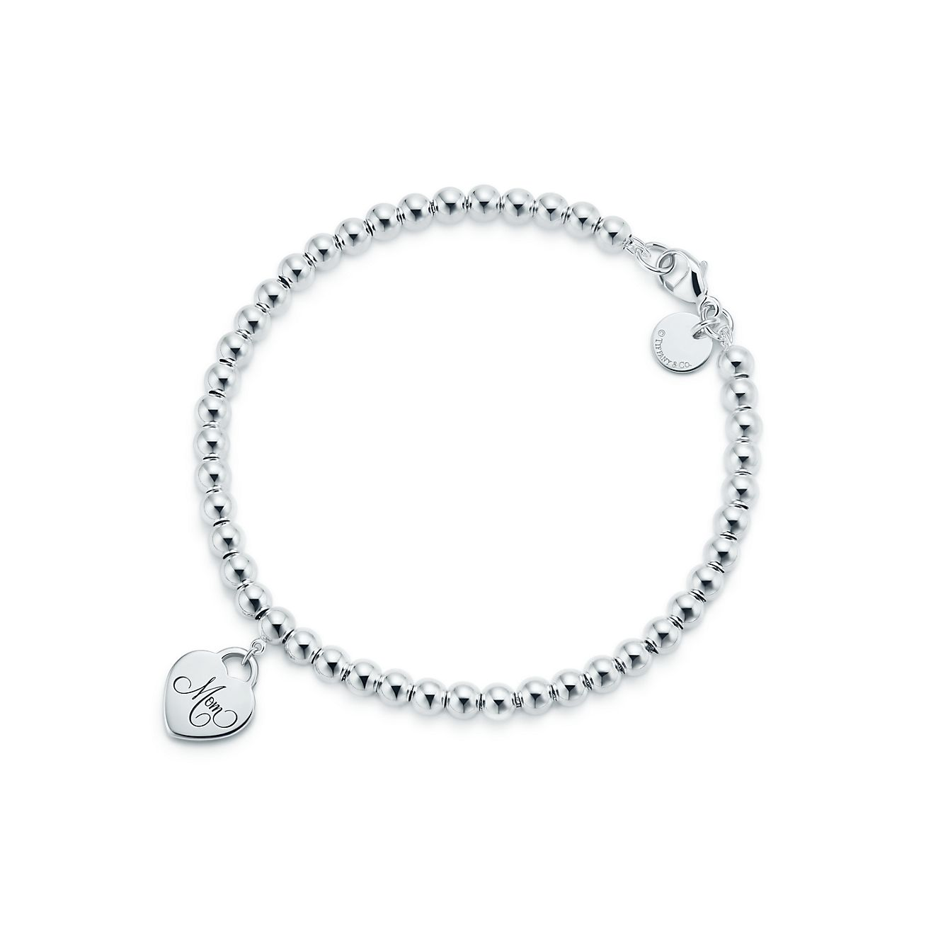 Bracelet à billes avec mini plaque en cœur « Mom » en argent sterling,  moyen.