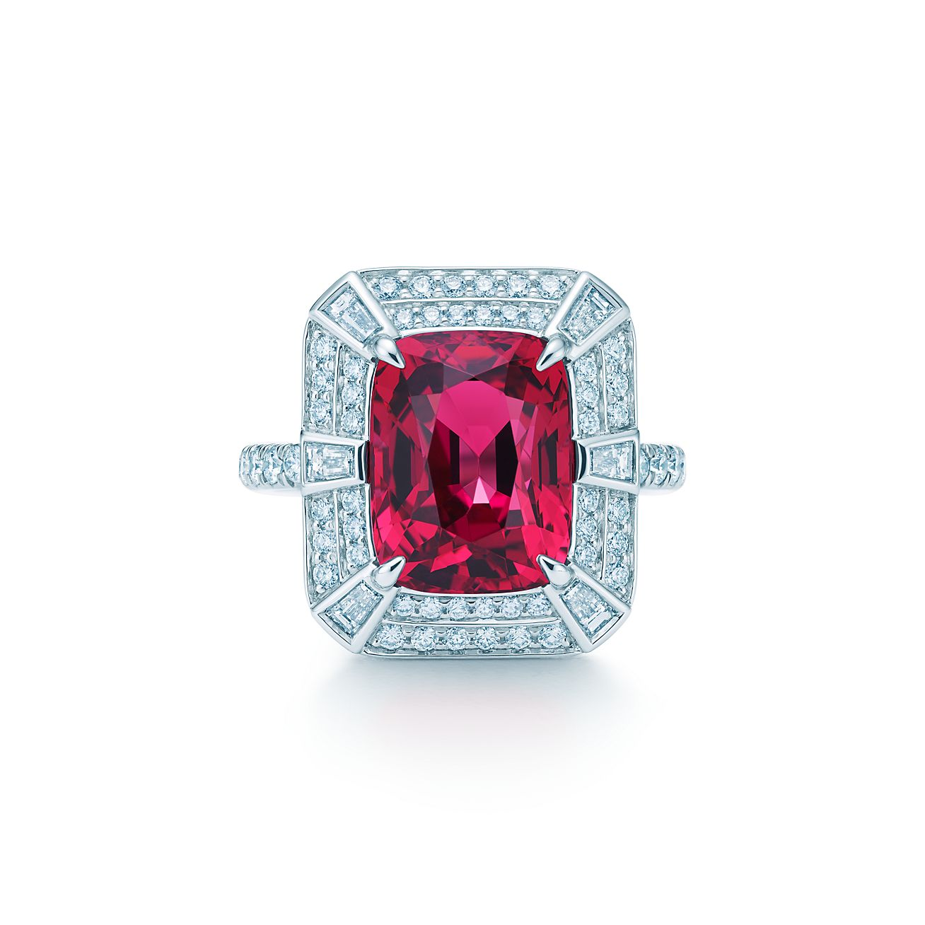 Ring in platinum with a 6 01 carat red spinel and diamonds