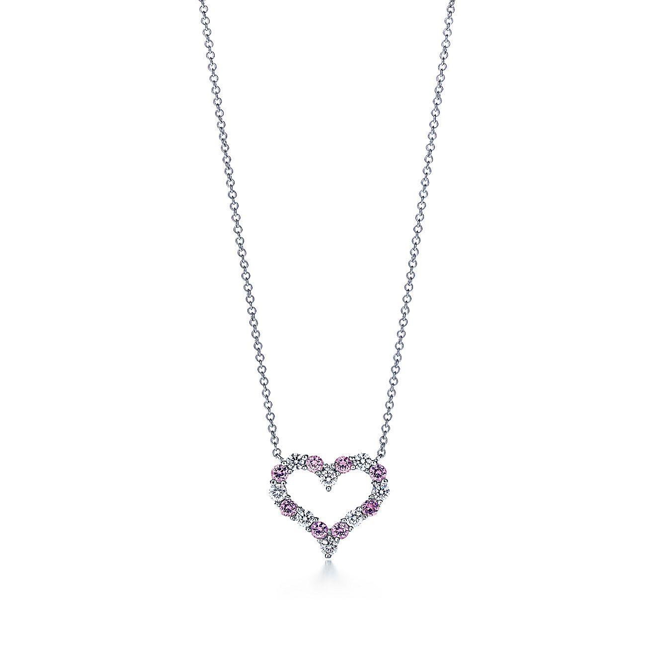 Diamond and Pink<br>Sapphire Heart Pendant