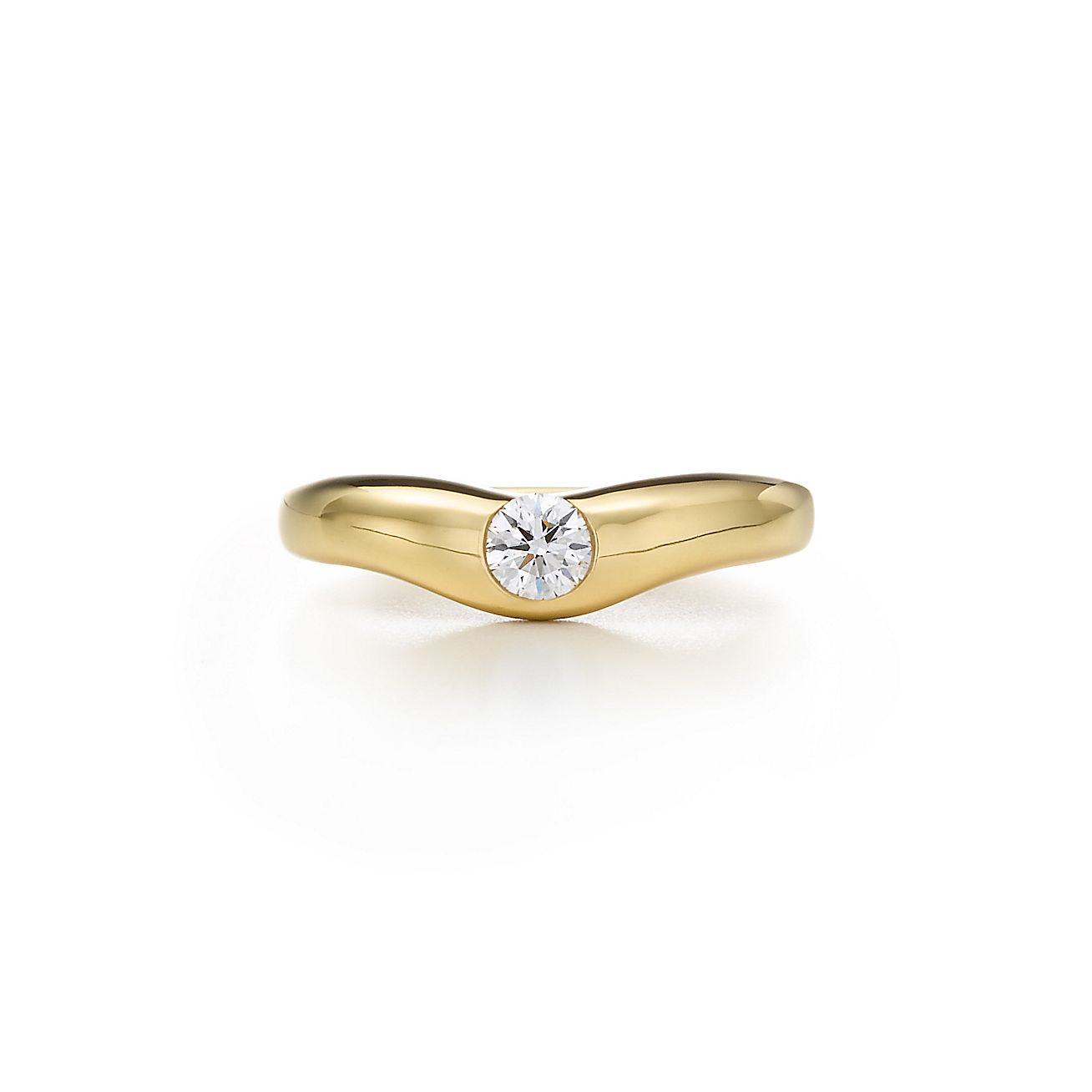 Elsa Peretti 174 Curved Band Ring With A Diamond In 18k Gold