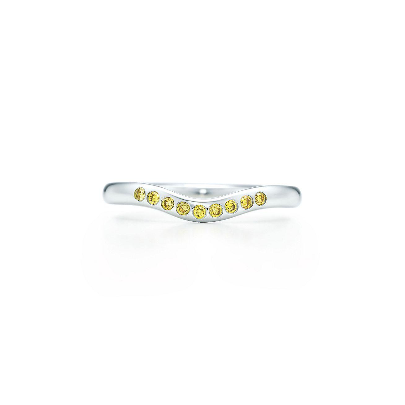 Elsa Peretti Wedding Band In Platinum With Tiffany Yellow Diamonds 2 Mm Wide Co