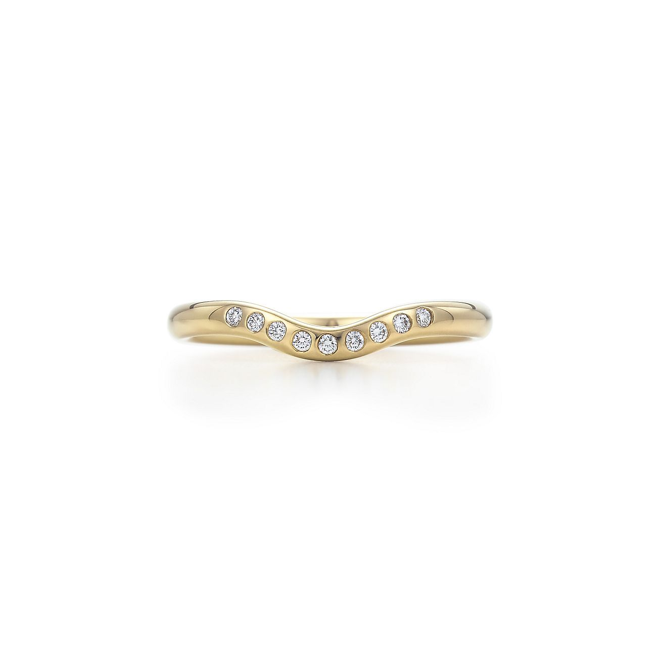 Elsa Peretti wedding band ring with diamonds in 18k gold Tiffany