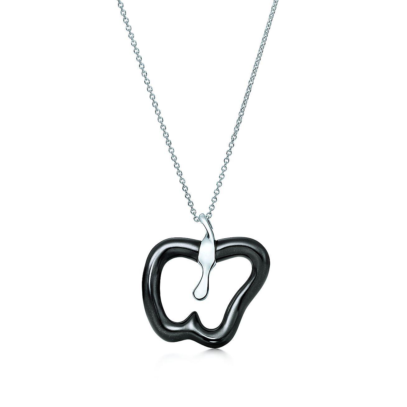 Elsa Peretti® Apple pendant of black jade and sterling