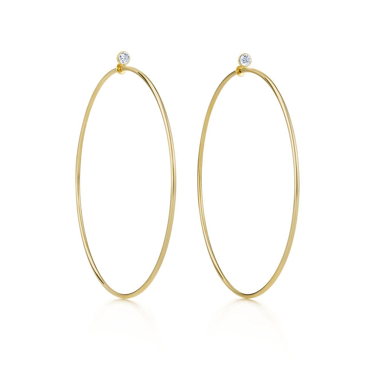 elsa peretti174 diamond hoop earrings in 18k gold with