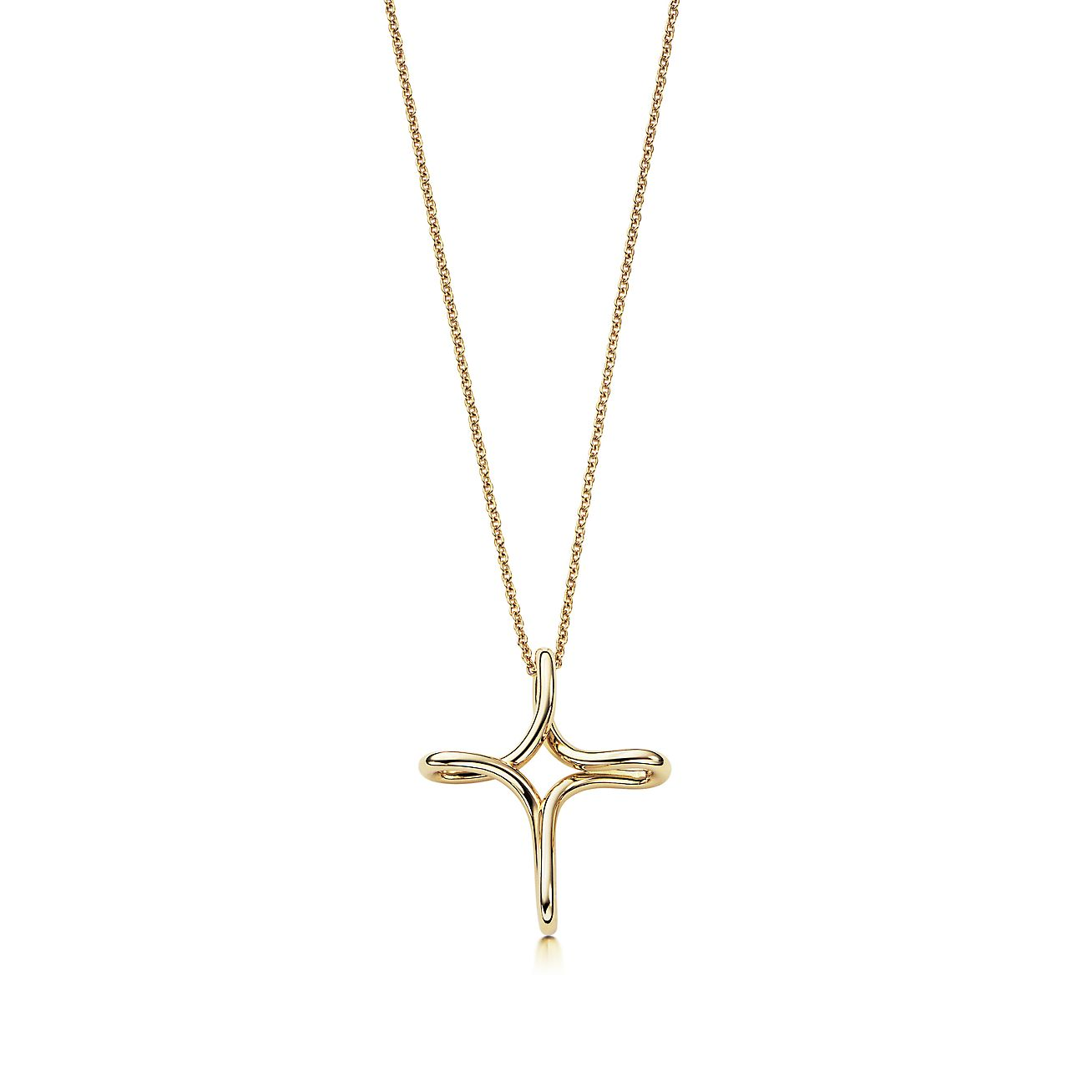 elsa peretti infinity cross pendant in 18k gold small